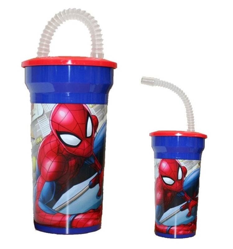 Vaso con caña de Spiderman